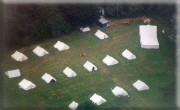 View of tents from the air